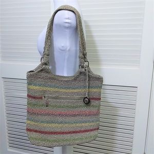 The Sak Grey Tote with Colorful Stripes